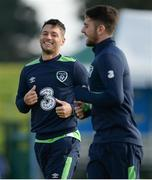 5 October 2016; Wes Hoolahan, left, and Robbie Brady of Republic of Ireland during squad training at the FAI National Training Centre in Abbotstown, Dublin. Photo by Seb Daly/Sportsfile