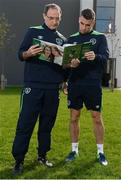 5 October 2016; Republic of Ireland manager Martin O'Neill and Seamus Coleman with Sportsfile's new book, The Republic of Ireland at Euro 2016 - A Pictorial Record, following squad training at the FAI National Training Centre in Abbotstown, Dublin. Remember the excitement of Euro 2016 when the Boys in Green did the country proud? As Christmas approaches the Sportsfile photographic team has compiled a 54-page photographic record of those memorable June days in France. All the goals are included and naturally there are also some great pictures of well-behaved Irish supporters as they did their bit for Ireland of the Welcomes. All the action and fans zone celebrations have now been brought together in a beautifully illustrated book titled The Republic of Ireland at Euro 2016. From Wes Hoolahan's brilliant strike in the opening game against Sweden in Paris to Bordeaux and a 3-0 defeat to Belgium. Then Robbie Brady's perfectly timed header as Martin O'Neill's team beat Italy in Lille to progress to the round of 16, where the dream eventually ended against France in Lyon. With captions by Sean Creedon and supported by CityJet the book is available in book shops and online at http://www.sportsfile.com . (€14.95 plus postage and packaging).  Photo by Seb Daly/Sportsfile