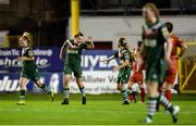 5 October 2016; Saoirse Noonan of Cork City WFC, centre, is congratulated by teammate Evelyn Daly, right, after scoring her side's opening goal during the Continental Tyres Women's National League match between Shelbourne Ladies and Cork City WFC at Tolka Park in Drumcondra, Dublin. Photo by Seb Daly/Sportsfile