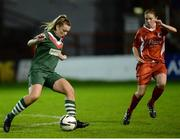 5 October 2016; Saoirse Noonan of Cork City WFC in action against Courtney Higgins of Shelbourne Ladies during the Continental Tyres Women's National League match between Shelbourne Ladies and Cork City WFC at Tolka Park in Drumcondra Dublin. Photo by Seb Daly/Sportsfile
