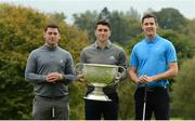 7 October 2016; Dundrum House Hotel Golf and Leisure Resort in Tipperary hosted an star studded fundraising golf day today with proceeds going to the Tipp Players Training Fund, the Dublin Players Training Fund and Tallaght Community Arts, TCA. All-Ireland Hurling Champions Darren Gleeson, Séamus Callanan, Bubbles O'Dwyer, Brendan Maher & Noel McGrath were joined by All-Ireland Football winner Bernard Brogan and a host of sporting celebrities on the Championship Course at Dundrum House in Dundrum, Co Tipperary. Pictured are Dublin footballer Bernard Brogan, centre, with Tipperary hurlers John 'Bubbles' O'Dwyer, left, and Séamus Callanan. Photo by Piaras Ó Mídheach/Sportsfile