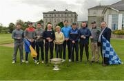 7 October 2016; Dundrum House Hotel Golf and Leisure Resort in Tipperary hosted an star studded fundraising golf day today with proceeds going to the Tipp Players Training Fund, the Dublin Players Training Fund and Tallaght Community Arts, TCA. All-Ireland Hurling Champions Darren Gleeson, Séamus Callanan, Bubbles O'Dwyer, Brendan Maher & Noel McGrath were joined by All-Ireland Football winner Bernard Brogan and a host of sporting celebrities on the Championship Course at Dundrum House in Dundrum, Co Tipperary. Pictured are Dundrum House club captain Michael Slattery and club president Mary Slattery, centre, and general manager Noel Mulhaire, right, with Dublin footballer Bernard Brogan and Tipperary hurlers at the first tee. Photo by Piaras Ó Mídheach/Sportsfile