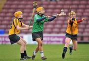 20 February 2011; Mairiosa McGourty, Queens University Belfast, in action against Mairead Power, left, and Laura Twomey, DCU. Purcell Cup Final, DCU v Queens University Belfast, Pearse Stadium, Salthill, Galway. Picture credit: David Maher / SPORTSFILE