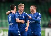 8 October 2016; Paul O'Conor of Limerick FC, centre, celebrates with team-mates Shane Tracy, left, and Chris Mulhall after scoring his side's first goal during the SSE Airtricity League First Division match between Limerick FC and Drogheda United at The Markets Field in Limerick. Photo by Diarmuid Greene/Sportsfile