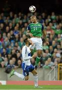 8 October 2016; Josh Magennis of Northern Ireland in action against Fabio Vitaiol of San Marino during the FIFA World Cup Group C Qualifier match between Northern Ireland and San Marino at Windsor Park in Belfast. Photo by Oliver McVeigh/Sportsfile