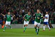 8 October 2016; Steven Davis of Northern Ireland celebrates after scoring his side's first goal during the FIFA World Cup Group C Qualifier match between Northern Ireland and San Marino at Windsor Park in Belfast. Photo by David Fitzgerald/Sportsfile