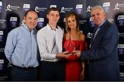 8 October 2016; Jordan Henley of Waterford with Billy Clynch and Laura Casey after being presented with his Bord Gáis Energy All Ireland GAA Hurling U-21 Team of the Year Award by Ger Cunningham, right, Bord Gáis Energy Judge, at the Bord Gáis Energy Team of the Year Awards in Mansion House. Mansion House, Dawson St, Dublin. Photo by Brendan Moran/Sportsfile