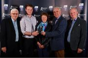 8 October 2016; Shane Barrett of Dublin with his uncle Michael Butler, left, and parents Emer and Jerry Barrett after being presented with his Bord Gáis Energy All Ireland GAA Hurling U-21 Team of the Year Award by Ger Cunningham, 2nd from right, Bord Gáis Energy Judge, at the Bord Gáis Energy Team of the Year Awards in Mansion House. Mansion House, Dawson St, Dublin. Photo by Brendan Moran/Sportsfile