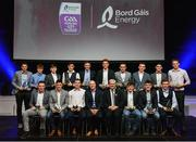 8 October 2016; The Bord Gáis Energy All Ireland GAA Hurling U-21 Team of the Year Award, back row from left, Brian Molloy of Galway, Dan Nevin of Galway, Eoghan O'Donnell of Dublin, Austin Gleeson of Waterford, Niall Mitchell of Westmeath, Stephen Bennett of Waterford, Micháel Harney of Waterford, Andrew Coffey of Tipperary and Shane Barrett of Dublin, with, front from left, Shane Bennett of Waterford, Conor Gleeson of Waterford, Jordan Henley of Waterford, Dave Kirwan, Managing Director, Bord Gáis Energy, Uachtarán Chumann Lúthchleas Gael Aogán Ó Fearghail, Darragh Lyons of Waterford, Patrick Curran of Waterford, and Ronan Lynch of Limerick, at the Bord Gáis Energy Team of the Year Awards at the Mansion House in Dawson St, Dublin. Photo by Brendan Moran/Sportsfile