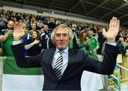 """8 October 2016; Pat Jennings former Northern Ireland great during the """"Lap of legends"""" before the FIFA World Cup Group C Qualifier match between Northern Ireland and San Marino at Windsor Park in Belfast. Photo by Oliver McVeigh/Sportsfile"""