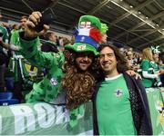 """8 October 2016; Gary Lightbody from the Northern Ireland band Snow Patrol during the """"Lap of legends"""" before the FIFA World Cup Group C Qualifier match between Northern Ireland and San Marino at Windsor Park in Belfast. Photo by Oliver McVeigh/Sportsfile"""