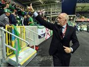 """8 October 2016; Sammy McIlroy ex Northern Ireland footballer during the """"Lap of legends"""" before the FIFA World Cup Group C Qualifier match between Northern Ireland and San Marino at Windsor Park in Belfast. Photo by Oliver McVeigh/Sportsfile"""