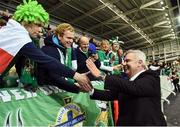 """8 October 2016; Eamon Holmes from Sky TV  during the """"Lap of legends"""" before the FIFA World Cup Group C Qualifier match between Northern Ireland and San Marino at Windsor Park in Belfast. Photo by Oliver McVeigh/Sportsfile"""