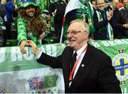 """8 October 2016; Denis Taylor former World Snooker champion during the """"Lap of legends"""" before the FIFA World Cup Group C Qualifier match between Northern Ireland and San Marino at Windsor Park in Belfast. Photo by Oliver McVeigh/Sportsfile"""