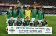 8 October 2016; The Northern Ireland team before the FIFA World Cup Group C Qualifier match between Northern Ireland and San Marino at Windsor Park in Belfast. Photo by Oliver McVeigh/Sportsfile