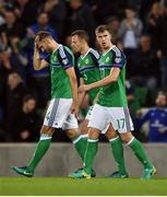 8 October 2016; Gareth McAuley, left, Jonny Evans and Paddy McNair of Northern Ireland during the FIFA World Cup Group C Qualifier match between Northern Ireland and San Marino at Windsor Park in Belfast. Photo by David Fitzgerald/Sportsfile