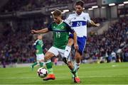 8 October 2016; Jamie Ward of Northern Ireland in action against Luca Tosi of San Marino during the FIFA World Cup Group C Qualifier match between Northern Ireland and San Marino at Windsor Park in Belfast. Photo by David Fitzgerald/Sportsfile