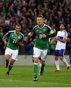 8 October 2016; Steven Davis of Northern Ireland celebrates scoring during the FIFA World Cup Group C Qualifier match between Northern Ireland and San Marino at Windsor Park in Belfast. Photo by David Fitzgerald/Sportsfile