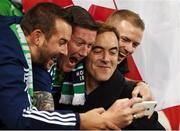 8 October 2016; Actor James Nesbitt poses for a photo with Northern Irish fans ahead of the FIFA World Cup Group C Qualifier match between Northern Ireland and San Marino at Windsor Park in Belfast. Photo by David Fitzgerald/Sportsfile