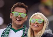 8 October 2016; Northern Ireland fans Gareth Deering and Marti Dines ahead of the FIFA World Cup Group C Qualifier match between Northern Ireland and San Marino at Windsor Park in Belfast. Photo by David Fitzgerald/Sportsfile