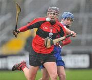 20 February 2011; Miriam Crowley, University College Cork, in action against Ann Dalton, Waterford IT. Ashbourne Cup Final, University College Cork v Waterford IT, Pearse Stadium, Salthill, Galway. Picture credit: David Maher / SPORTSFILE