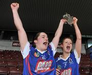 20 February 2011; Ann Dalton, left, Waterford IT captain, celebrates with her team-mate Collette Dormer with the Ashbourne cup at the end of the game. Ashbourne Cup Final, University College Cork v Waterford IT, Pearse Stadium, Salthill, Galway. Picture credit: David Maher / SPORTSFILE