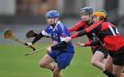 20 February 2011; Michelle Quilty, Waterford IT, in action against Pamela Mackey, centre, and Niamh Goulding, University College Cork. Ashbourne Cup Final, University College Cork v Waterford IT, Pearse Stadium, Salthill, Galway. Picture credit: David Maher / SPORTSFILE