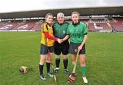 20 February 2011; Referee Eamonn Browne with captains Colette McSorley, right, Queens University Belfast, and Laura Twomey, DCU. Purcell Cup Final, DCU v Queens University Belfast, Pearse Stadium, Salthill, Galway. Picture credit: David Maher / SPORTSFILE