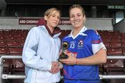 20 February 2011; Katrina Parrock, Waterford IT, is presented with the player of the match award by Niamh Kilkenny. Ashbourne Cup Final, University College Cork v Waterford IT, Pearse Stadium, Salthill, Galway. Picture credit: David Maher / SPORTSFILE