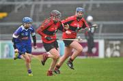 20 February 2011; Miriam Crowley, University College Cork, in action against Michelle Quilty, Waterford IT. Ashbourne Cup Final, University College Cork v Waterford IT, Pearse Stadium, Salthill, Galway. Picture credit: David Maher / SPORTSFILE