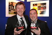 """18 February 2011; Sportsfile staff photographers David Maher, left, from Kilcock, Co. Kildare, and Brendan Moran, from Tralee Co. Kerry, with their awards at the Press Photographers Association of Ireland -  AIB Photojournalism Awards 2011. David Maher won 2nd place in the Sports Portfolio category with the judges citation reading """"The photographer demonstrates how shooting against the light can on occasion pay-off very well; throughout there is great use of light and great observation."""" Brendan Moran won 2nd place in the Environmental category with a picture titled """"Snow Seats"""" a view of empty seats in Croke Park stadium covered in snow during the recent bad weather in December last, with the judges citation reading """"The absence of people helps tell the story in a very graphic way while keeping the image simple and powerful. The strength of the picture comes from its very simplicity."""" This year, over 2,010 images were entered by 123 photographers from around the country, across nine categories - news, daily life, sports action, sports portfolio, portrait, environment, politics, arts & entertainment and reportage. The AIB Photojournalism Exhibition, featuring 122 prints, opens in AIB Bank, Cornelscourt, on Tuesday, 22nd February 2011. It will then go on tour, visiting selected AIB branches and other venues nationwide. Masterclasses for schools, camera clubs and photography students will also be held in locations throughout the country over the coming months. Burlington Hotel, Dublin. Picture credit: Ray McManus / SPORTSFILE"""