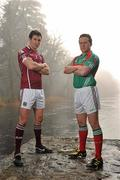 21 February 2011; Photographed at a GAA promotional event for the Allianz football league are Andy Moran, right, Mayo, and Finian Hanley, Galway. Cong, Co. Mayo. Picture credit: David Maher / SPORTSFILE