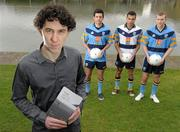 """22 February 2011; Author Irial Glynn with UCD stars Cian O'Sullivan, left, Craig Dias, and Peter Kelly, right, at the book launch of """"UCD and the Sigerson"""" by Irial Glynn. UCD, Belfield, Dublin. Picture credit: Paul Mohan / SPORTSFILE"""