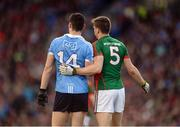 1 October 2016; Diarmuid Connolly of Dublin and Lee Keegan of Mayo during the GAA Football All-Ireland Senior Championship Final Replay match between Dublin and Mayo at Croke Park in Dublin. Photo by Piaras Ó Mídheach/Sportsfile