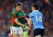 1 October 2016; Diarmuid Connolly of Dublin and Lee Keegan of Mayo tussle during the GAA Football All-Ireland Senior Championship Final Replay match between Dublin and Mayo at Croke Park in Dublin. Photo by Piaras Ó Mídheach/Sportsfile