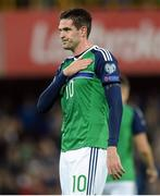 8 October 2016; Kyle Lafferty of Northern Ireland celebrates after scoring his side's fourth goal during the FIFA World Cup Group C Qualifier match between Northern Ireland and San Marino at Windsor Park in Belfast. Photo by Oliver McVeigh/Sportsfile
