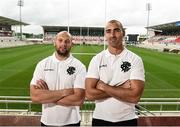 11 October 2016; Dan Tuohy, left, and Ruan Pienaar of Ulster who was announced will take part in the forthcoming historic international game between Barbarians and Fiji to be played at Kingspan Staduim after a press conference at Kingspan Stadium in Ravenhill Park, Belfast. Photo by Oliver McVeigh/Sportsfile