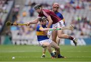 14 August 2016; Jerome Cahill of Tipperary, supported by team-mate Cian Flanagan, behind, in action against Jack Canning of Galway during the Electric Ireland GAA Hurling All-Ireland Minor Championship Semi-Final game between Galway and Tipperary at Croke Park, Dublin. Photo by Piaras Ó Mídheach/Sportsfile