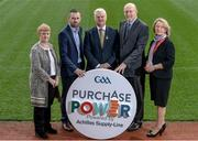 12 October 2016; Jeanne Copeland, left, Managing Director of Achilles, Alan Brogan, second left, Commercial Director Custodian Print, Uachtarán Chumann Lúthchleas Gael Aogán Ó Fearghail, centre, Derrick Whelan, Achilles, and Cathy Slattery, right, National Finance Manager, Croke Park, in attendance at the launch of GAA Purchase Power at Croke Park in Dublin. Photo by Sam Barnes/Sportsfile