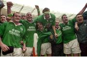 19 March 2000; Irish players, l to r,  Peter Clohessy, John Hayes, Kevin Maggs, Denis Hickie, Frank Sheahan, Anthony Foley and Justin Fitzpatrick celebrate Ireland's win over France in the Six Nations Rugby International,  France v Ireland, Paris, France. Photo by Matt Browne/Sportsfile