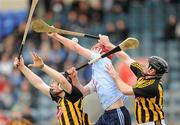 27 February 2011; Ryan O'Dwyer, Dublin, in action against John Dalton, left, and Noel Hickey, Kilkenny. Walsh Cup Final, Dublin v Kilkenny, Parnell Park, Donnycarney, Dublin. Picture credit: Ray McManus / SPORTSFILE