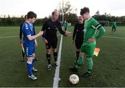 15 October 2016; Referee John McNamara performs the coin toss with team captains Ger Brady of Limerick FC, left, and Conor Standen of Kerry District League prior to the SSE Airtricity League Under 17 Shield match between Limerick FC and Kerry District League at the University of Limerick. Photo by Piaras Ó Mídheach/Sportsfile
