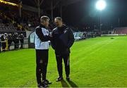 17 October 2016; Alan Mathews manager of Longford Town chats with Dundalk manager Stephen Kenny before the start of the SSE Airtricity League Premier Division game between Longford Town and Dundalk at City Calling Stadium in Longford. Photo by David Maher/Sportsfile