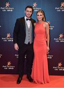 3 November 2017; Galway hurler David Burke with Laura Madden upon arrival at the PwC All Stars 2017 at the Convention Centre in Dublin. Photo by Seb Daly/Sportsfile