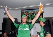 2 March 2011; Ireland's John Mooney celebrates after his side's victory over England. 2011 ICC Cricket World Cup, hosted by India, Sri Lanka and Bangladesh, Bangalore, India. Picture credit: Barry Chambers / Cricket Ireland / SPORTSFILE