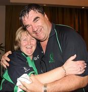2 March 2011; Ireland manager Roy Torrens celebrates with his wife Joan after his side's victory over England. 2011 ICC Cricket World Cup, hosted by India, Sri Lanka and Bangladesh, Bangalore, India. Picture credit: Barry Chambers / Cricket Ireland / SPORTSFILE