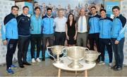18 October 2016; AIG Insurance, proud sponsor of Dublin GAA, held a reception at its offices today to mark the Dublin football team's All-Ireland success. Pictured are, from left Dublin players Bernard Brogan, Paul Flynn, Michael Fitzsimons, Cian O'Sullivan, with AIG representatives Aidan Connaughton, Hillary Browne and AIG General Manager Declan O'Rourke, James McCarthy, Colm Basquell, and David Byrne, with the Sam Maguire cup. For more information about AIG Insurance's products and services go to www.aig.ie or call 1890 50 27 27. AIG Offices in North Wall Quay, Dublin. Photo by Cody Glenn/Sportsfile