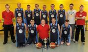 5 March 2011; The North West Special Olympics Clubs team, back row, from left, Lee Scanlon, coach, Oliver Boyle, Christopher O'Donnell, Stephen McCallion, John McElwaine, Daniel James Cannon, Brian Crilly, Conor Meany, member of the Men's Superleague National Cup Champions, UCD Marian, and Tommy McCay, coach, with, front row, from left, Nigel Porter, Dominic McCallion, Julian McIntyre, Stephen Dowds and Michael O'Donnell with the Men's Superleague National Cup. Special Olympics Ireland National Basketball Cup, Loughlinstown Leisure Centre, Dun Laoghaire, Co. Dublin. Picture credit: Stephen McCarthy / SPORTSFILE