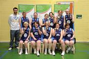 5 March 2011; The North West Special Olympics Clubs team, back row, from left, Conor Meany, member of the Men's Superleague National Cup Champions, UCD Marian, Dawn Monaghan, Tara Holton, Mary Margaret Strain, Carina Bond-McCauley, Denise Kerr, Siobhan Dunne, with, front row, from left, Nicola McIntyre, Marion Gallagher, Treasa Barrett, Meolissa McDevitt and Martina McGrath after receiving their runners-up medals following the Women's Cup Final. Special Olympics Ireland National Basketball Cup, Loughlinstown Leisure Centre, Dun Laoghaire, Co. Dublin. Picture credit: Stephen McCarthy / SPORTSFILE