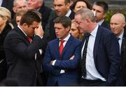 21 October 2016; Munster player CJ Stander, left, with former Munster and Ireland players Ronan O'Gara and Mick Galwey, right, arrive for the funeral of Munster Rugby head coach Anthony Foley at the St. Flannan's Church, Killaloe, Co Clare. The Shannon club man, with whom he won 5 All Ireland League titles, played 202 times for Munster and was capped for Ireland 62 times, died suddenly in Paris on November 16, 2016 at the age of 42. Photo by Stephen McCarthy/Sportsfile